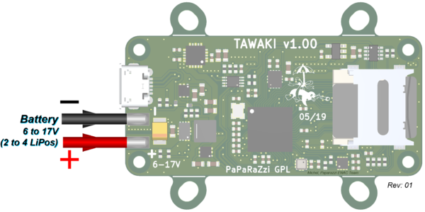 Tawaki v1.00 External source onto GND & VBAT pads